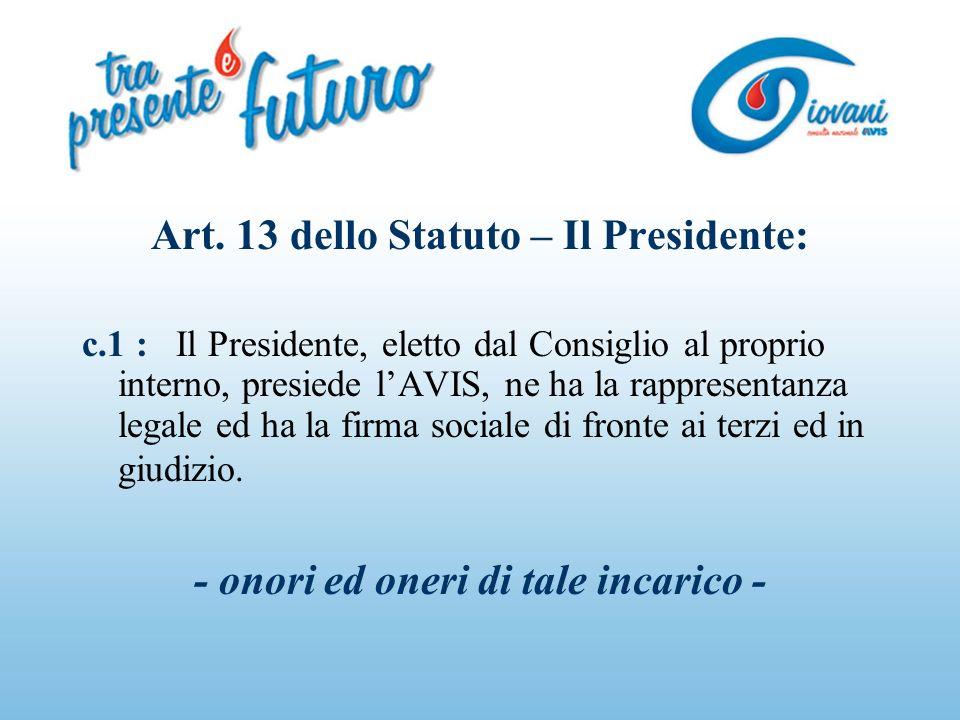 Art. 13 dello Statuto – Il Presidente: c.1 : Il Presidente, eletto dal Consiglio al proprio interno, presiede lAVIS, ne ha la rappresentanza legale ed