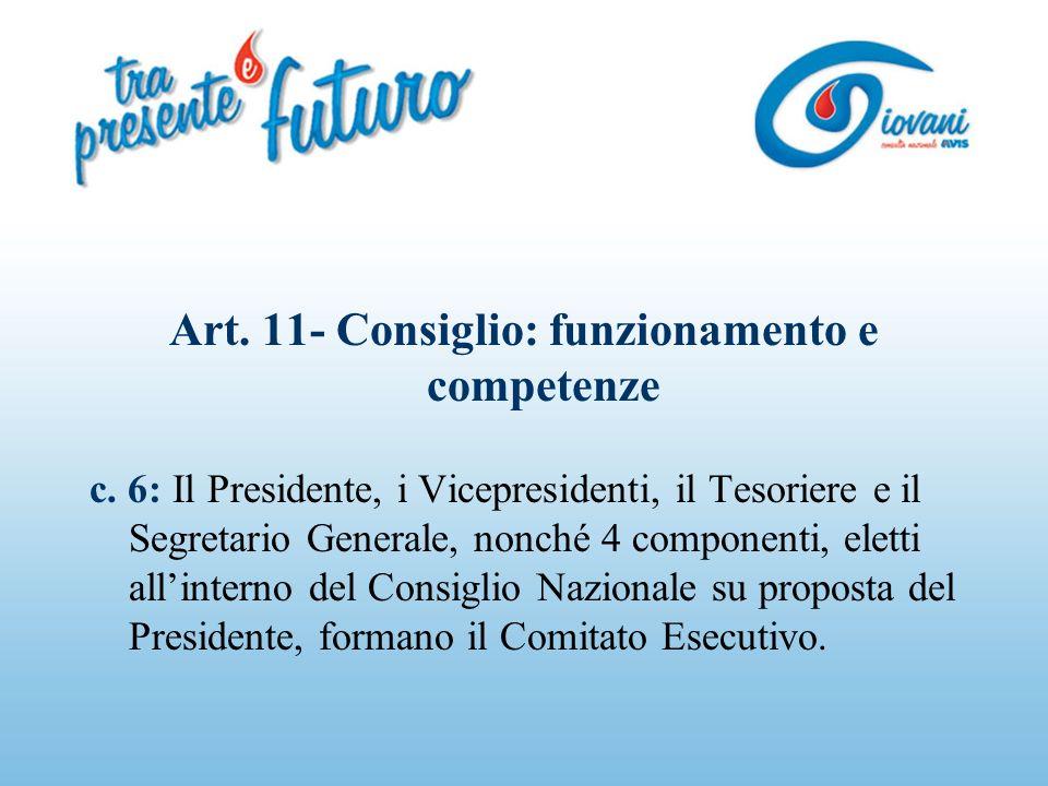 Art. 11- Consiglio: funzionamento e competenze c.