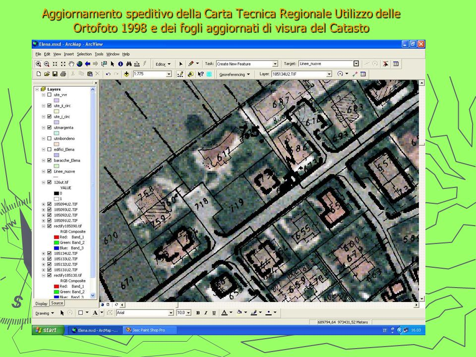 Aggiornamento speditivo della Carta Tecnica Regionale Utilizzo delle Ortofoto 1998 e dei fogli aggiornati di visura del Catasto