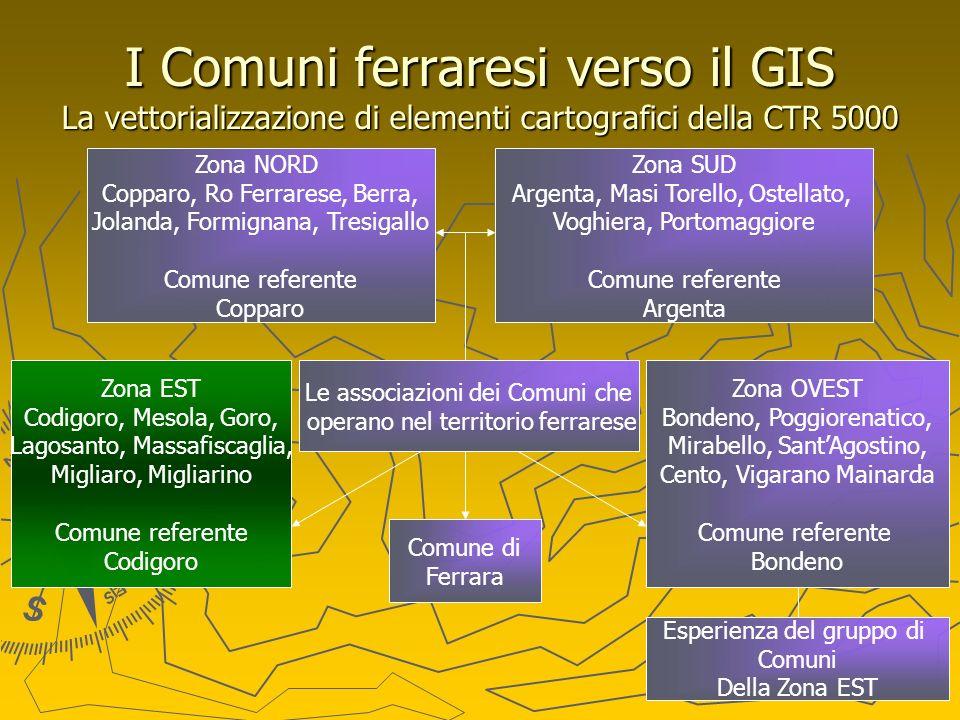 I Comuni ferraresi verso il GIS La vettorializzazione di elementi cartografici della CTR 5000 Le associazioni dei Comuni che operano nel territorio fe