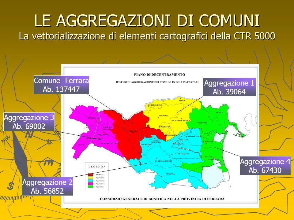 LE AGGREGAZIONI DI COMUNI La vettorializzazione di elementi cartografici della CTR 5000 Aggregazione 3 Ab. 69002 Comune Ferrara Ab. 137447 Aggregazion