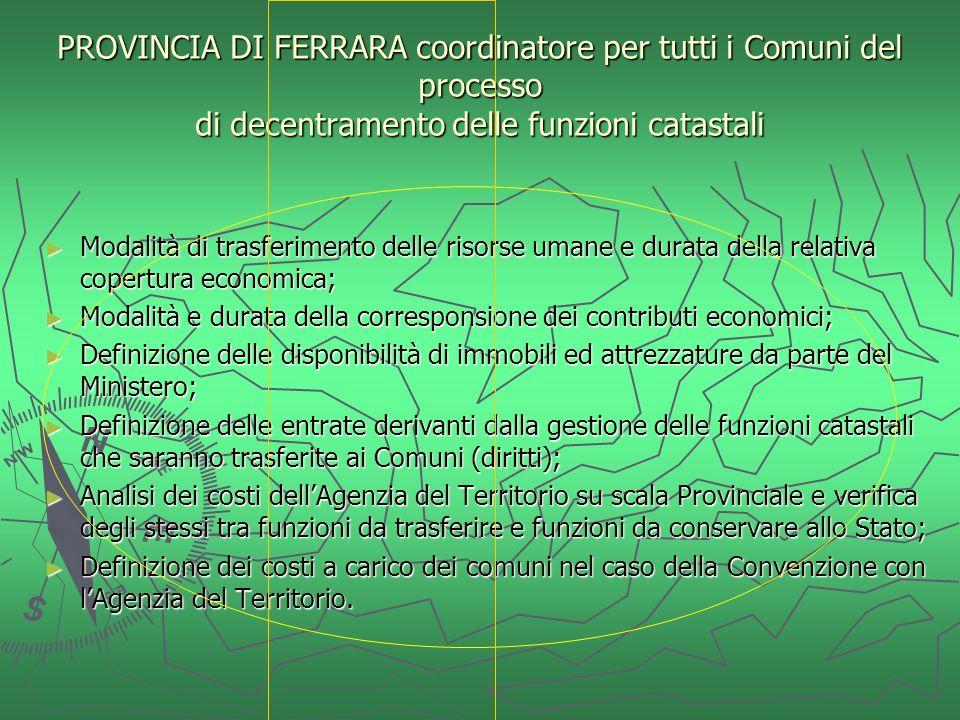 PROVINCIA DI FERRARA coordinatore per tutti i Comuni del processo di decentramento delle funzioni catastali Modalità di trasferimento delle risorse um