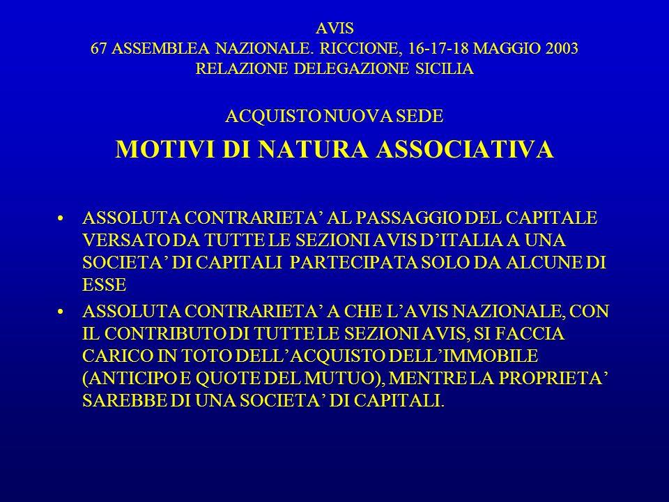 AVIS 67 ASSEMBLEA NAZIONALE.