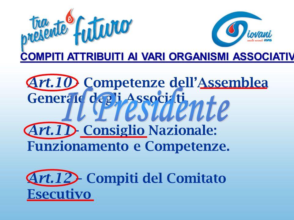 Art.10 - Competenze dellAssemblea Generale degli Associati.