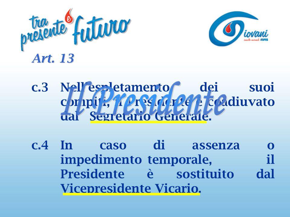 Art. 13 c.3Nellespletamento dei suoi compiti, il Presidente è coadiuvato dal Segretario Generale.