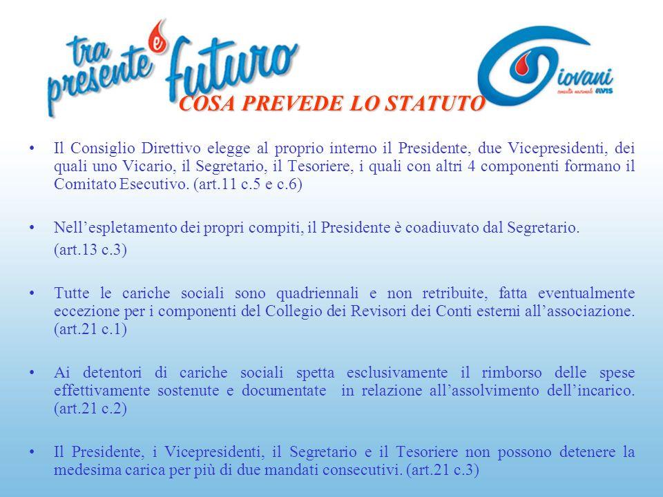 COSA PREVEDE LO STATUTO Il Consiglio Direttivo elegge al proprio interno il Presidente, due Vicepresidenti, dei quali uno Vicario, il Segretario, il T