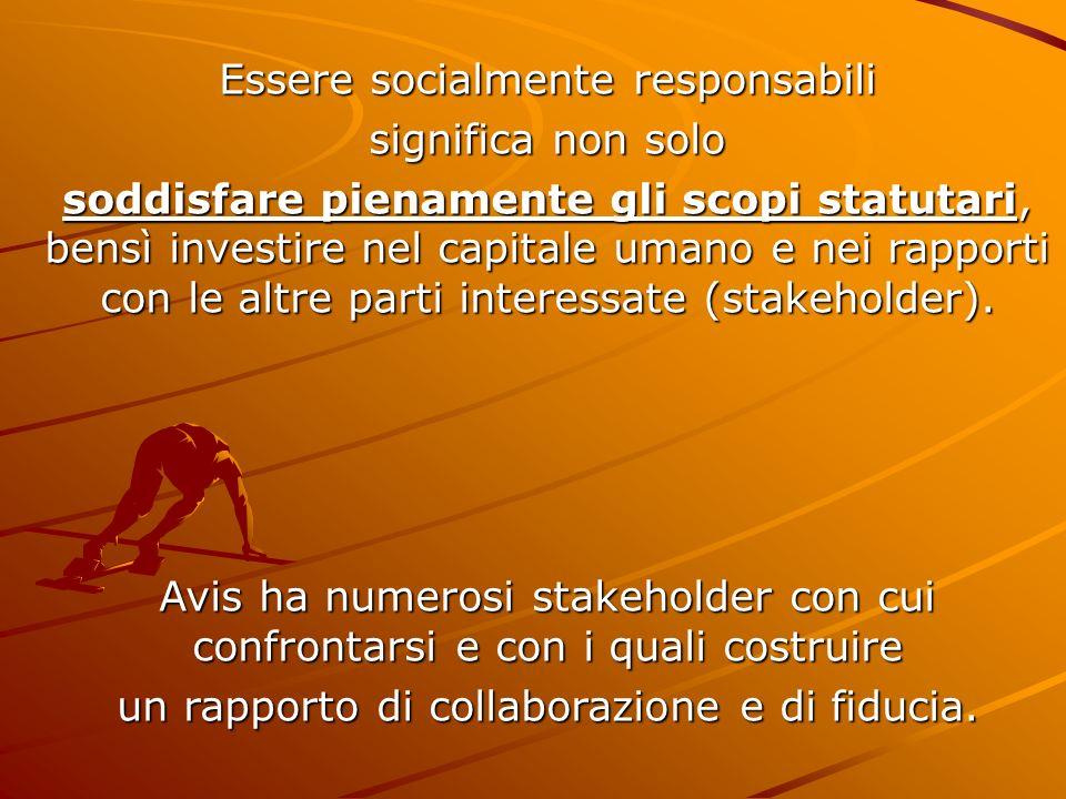Essere socialmente responsabili significa non solo soddisfare pienamente gli scopi statutari, bensì investire nel capitale umano e nei rapporti con le altre parti interessate (stakeholder).