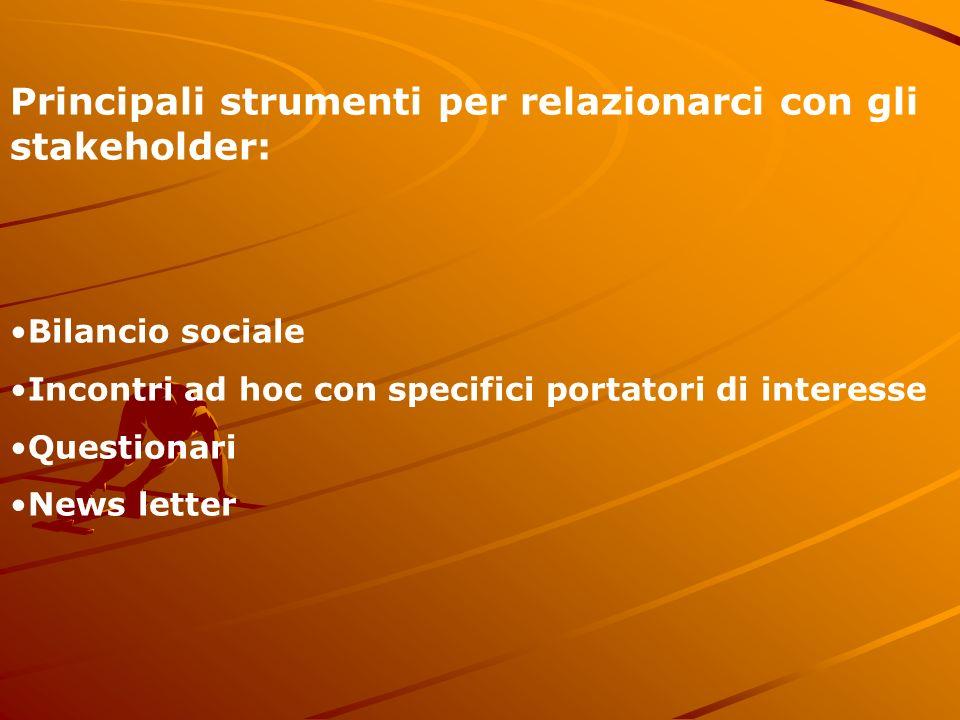 Principali strumenti per relazionarci con gli stakeholder: Bilancio sociale Incontri ad hoc con specifici portatori di interesse Questionari News letter