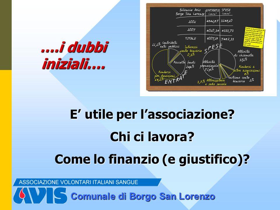 Comunale di Borgo San Lorenzo ….i dubbi iniziali…. E utile per lassociazione? Chi ci lavora? Come lo finanzio (e giustifico)?