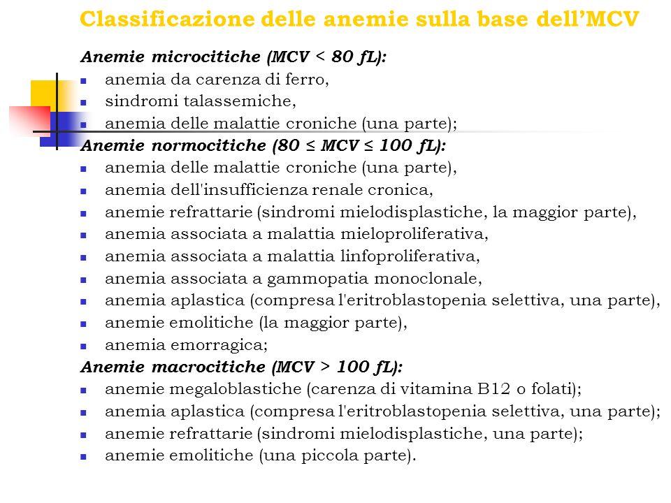 Classificazione delle anemie sulla base dellMCV Anemie microcitiche (MCV < 80 fL): anemia da carenza di ferro, sindromi talassemiche, anemia delle mal