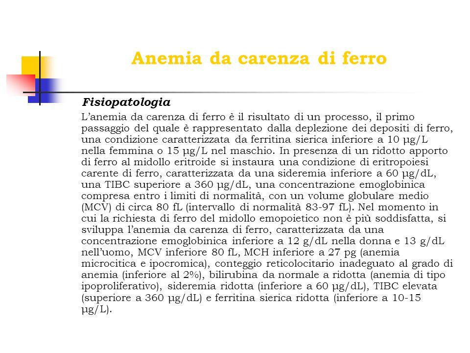 Anemia da carenza di ferro Fisiopatologia Lanemia da carenza di ferro è il risultato di un processo, il primo passaggio del quale è rappresentato dall