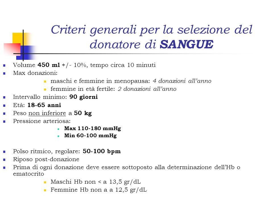 Criteri generali per la selezione del donatore di SANGUE Volume 450 ml +/- 10%, tempo circa 10 minuti Max donazioni: maschi e femmine in menopausa: 4