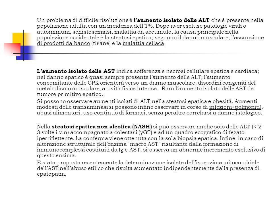 Un problema di difficile risoluzione è laumento isolato delle ALT che è presente nella popolazione adulta con unincidenza dell1%. Dopo aver escluse pa