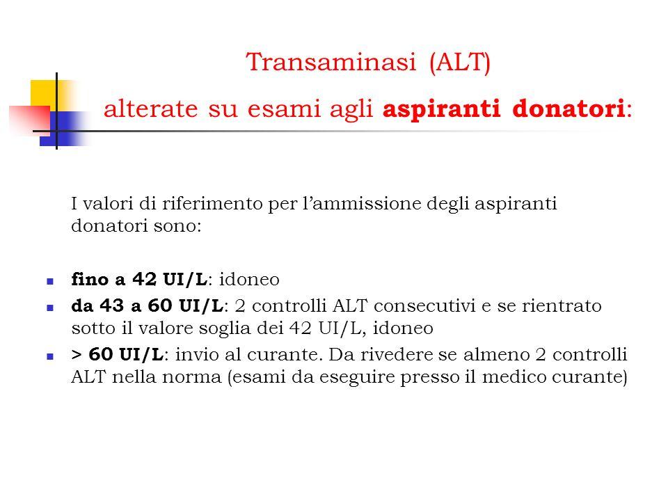 Transaminasi (ALT) alterate su esami agli aspiranti donatori : I valori di riferimento per lammissione degli aspiranti donatori sono: fino a 42 UI/L :