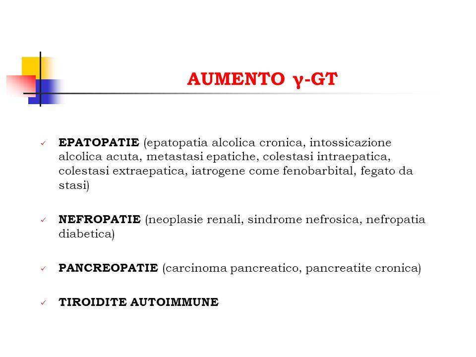 AUMENTO γ-GT EPATOPATIE (epatopatia alcolica cronica, intossicazione alcolica acuta, metastasi epatiche, colestasi intraepatica, colestasi extraepatic