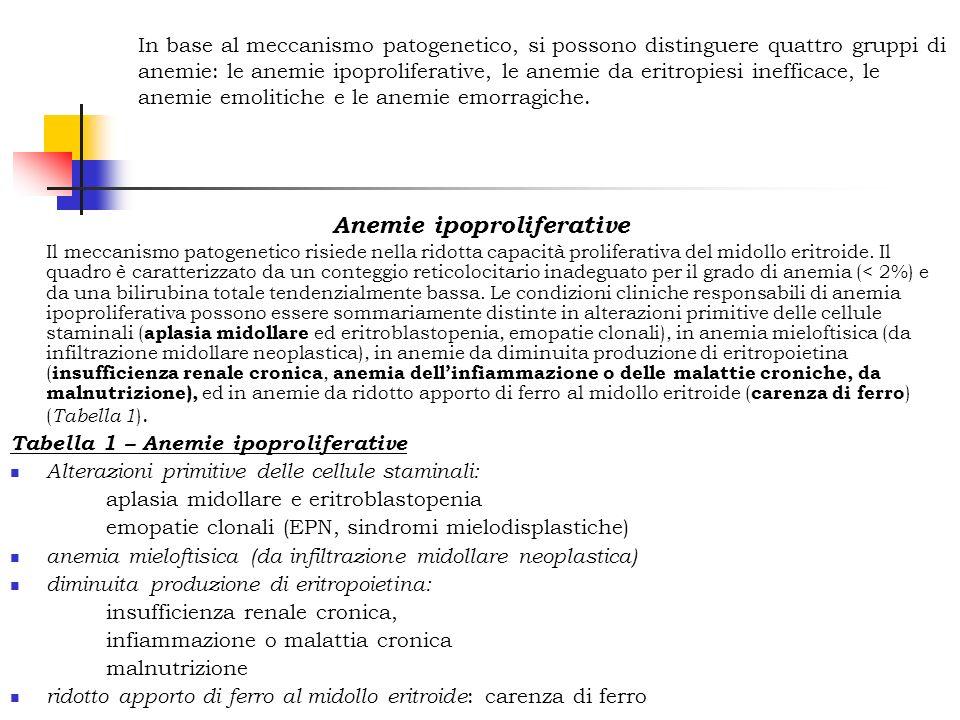 Classificazione delle anemie In base al meccanismo patogenetico, si possono distinguere quattro gruppi di anemie: le anemie ipoproliferative, le anemi