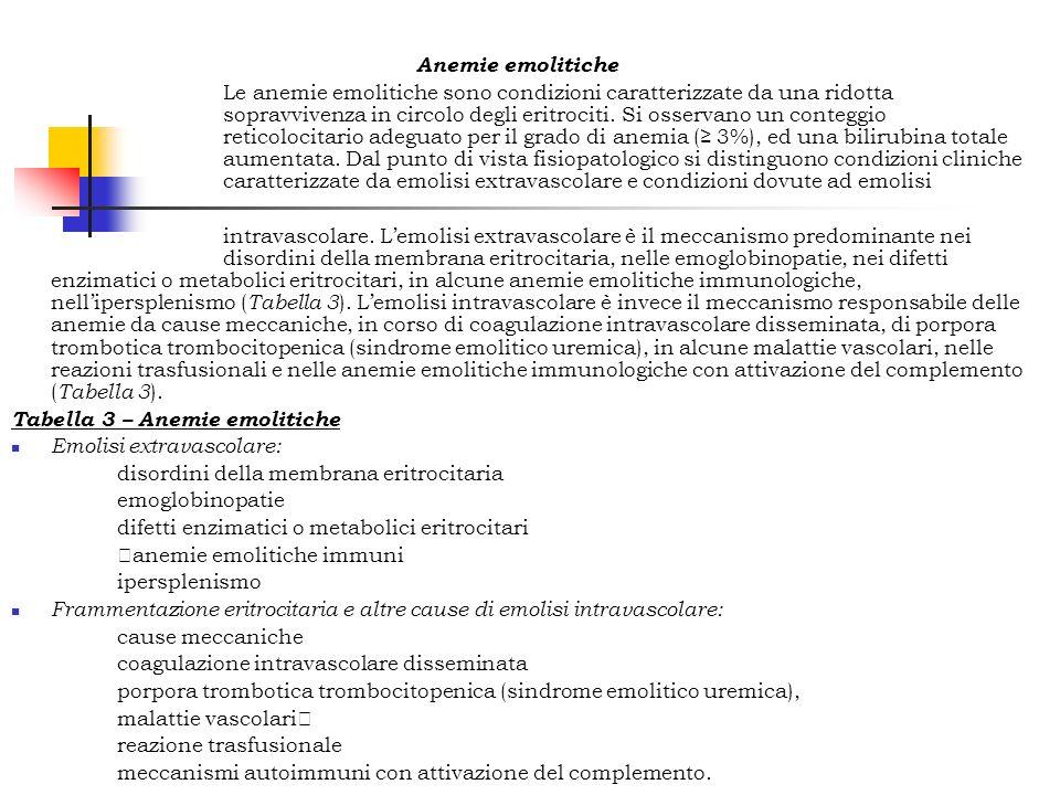 Anemie emolitiche Le anemie emolitiche sono condizioni caratterizzate da una ridotta sopravvivenza in circolo degli eritrociti. Si osservano un conteg