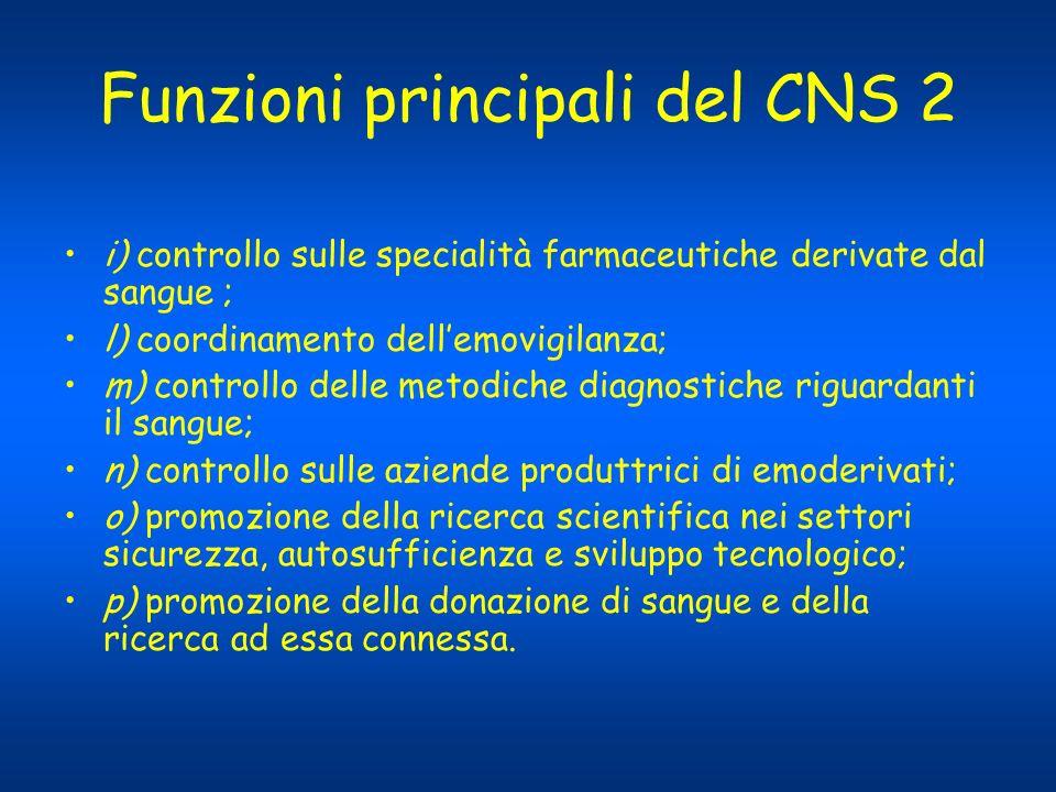 Funzioni principali del CNS 2 i) controllo sulle specialità farmaceutiche derivate dal sangue ; l) coordinamento dellemovigilanza; m) controllo delle