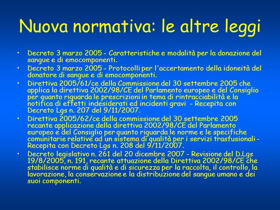 Nuova normativa: le altre leggi Decreto 3 marzo 2005 - Caratteristiche e modalità per la donazione del sangue e di emocomponenti. Decreto 3 marzo 2005