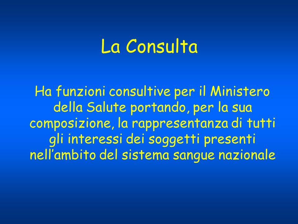 La Consulta Ha funzioni consultive per il Ministero della Salute portando, per la sua composizione, la rappresentanza di tutti gli interessi dei sogge