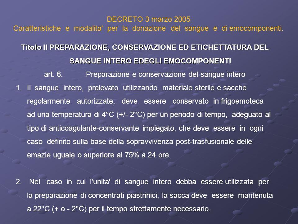 DECRETO 3 marzo 2005 Caratteristiche e modalita' per la donazione del sangue e di emocomponenti. Titolo II PREPARAZIONE, CONSERVAZIONE ED ETICHETTATUR