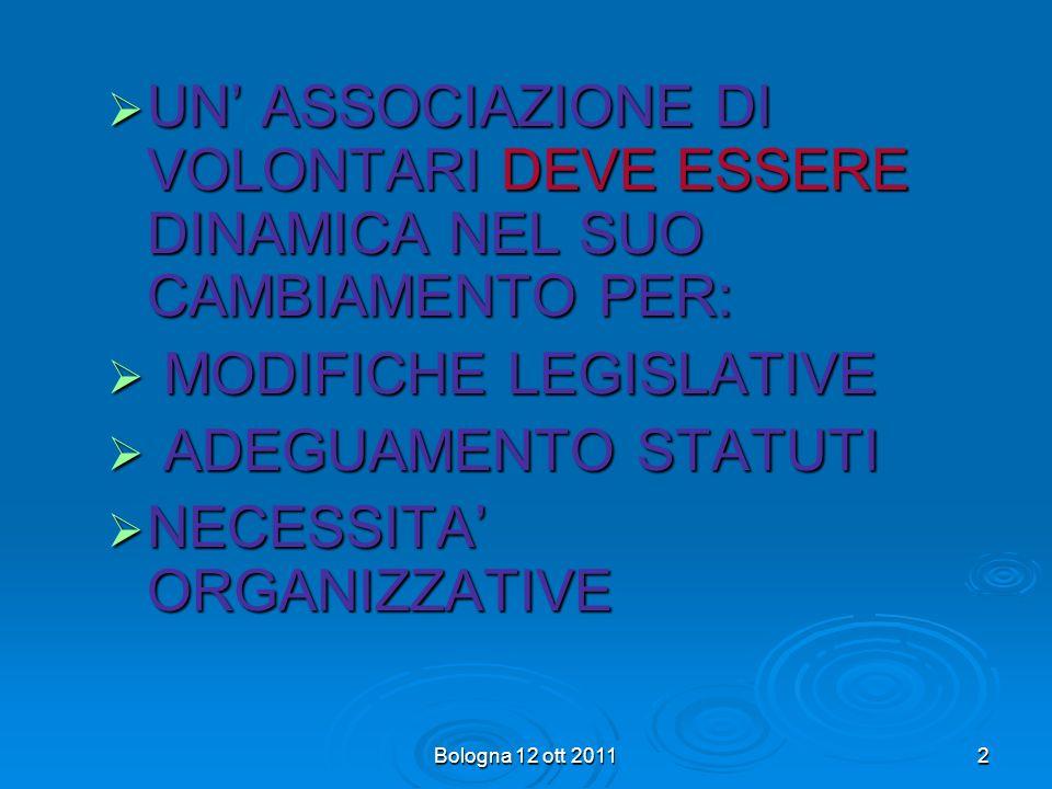Bologna 12 ott 2011 42 Sono cambiate le leggi che governano il volontariato e la sanità pubblica, è cambiata lorganizzazione associativa, sono modificati ruoli e competenze dei riferimenti amministrativi e sanitari pubblici.