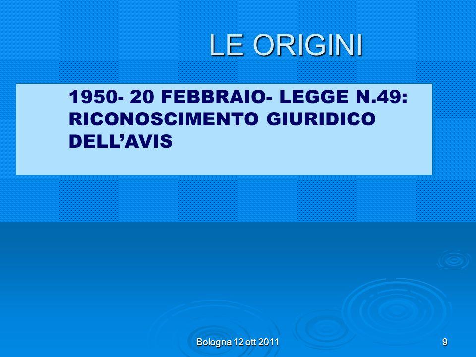 9 LE ORIGINI 1950- 20 FEBBRAIO- LEGGE N.49: RICONOSCIMENTO GIURIDICO DELLAVIS