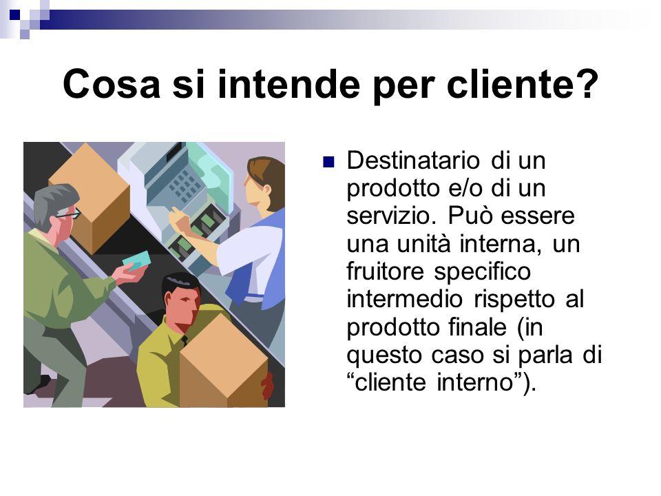 Cosa si intende per cliente.Destinatario di un prodotto e/o di un servizio.