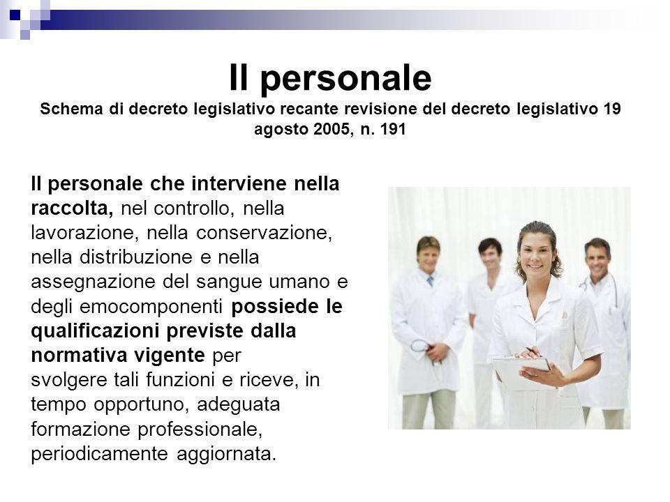 Il personale Schema di decreto legislativo recante revisione del decreto legislativo 19 agosto 2005, n.