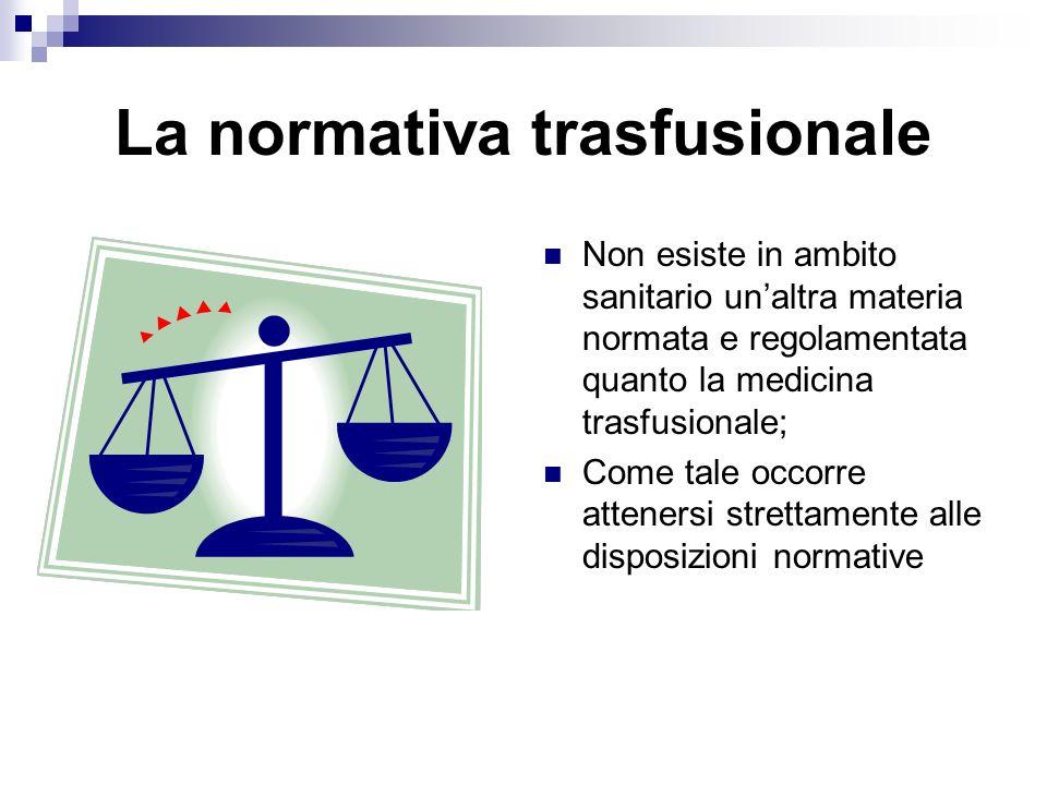 La normativa trasfusionale Non esiste in ambito sanitario unaltra materia normata e regolamentata quanto la medicina trasfusionale; Come tale occorre attenersi strettamente alle disposizioni normative