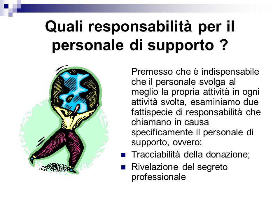 Quali responsabilità per il personale di supporto .