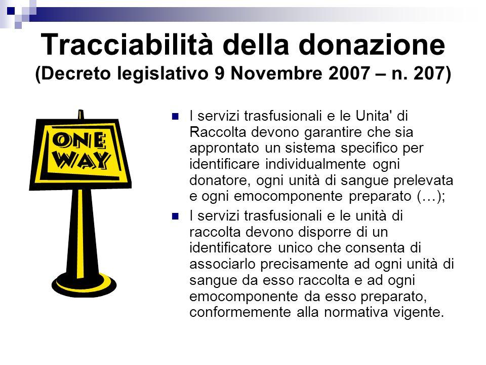 Tracciabilità della donazione (Decreto legislativo 9 Novembre 2007 – n.