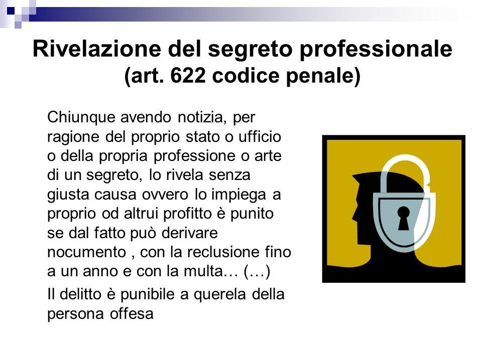 Rivelazione del segreto professionale (art.