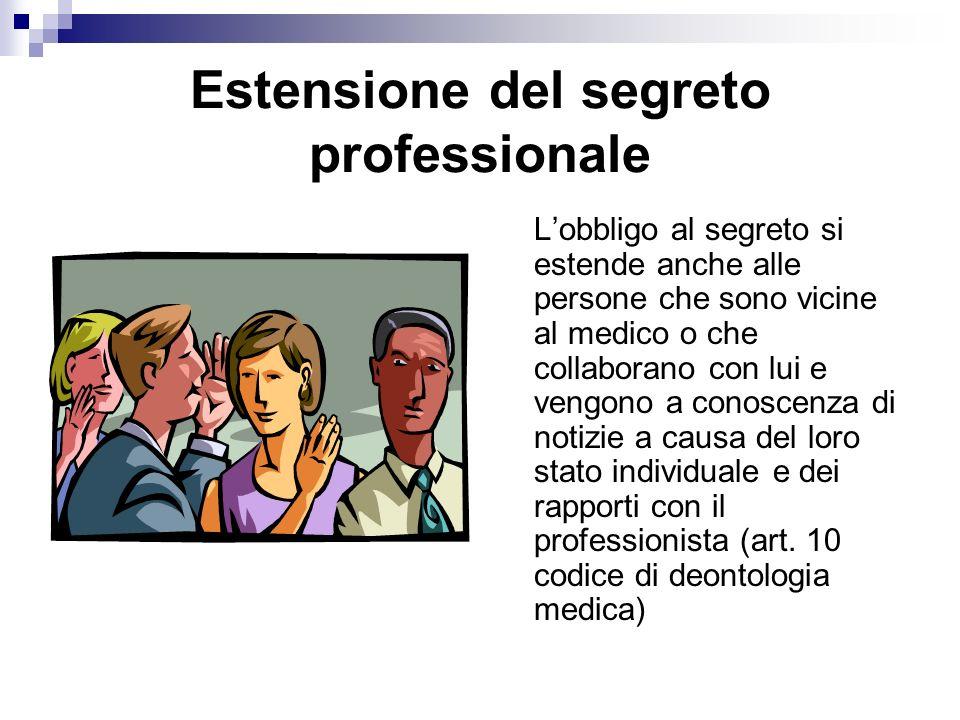 Estensione del segreto professionale Lobbligo al segreto si estende anche alle persone che sono vicine al medico o che collaborano con lui e vengono a conoscenza di notizie a causa del loro stato individuale e dei rapporti con il professionista (art.