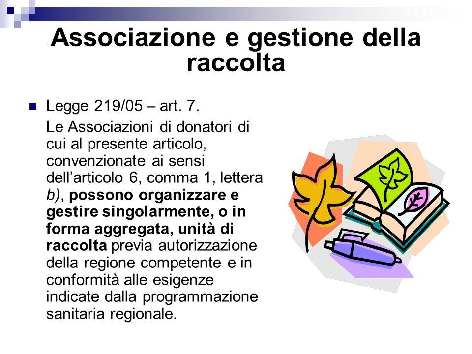 Associazione e gestione della raccolta Legge 219/05 – art.