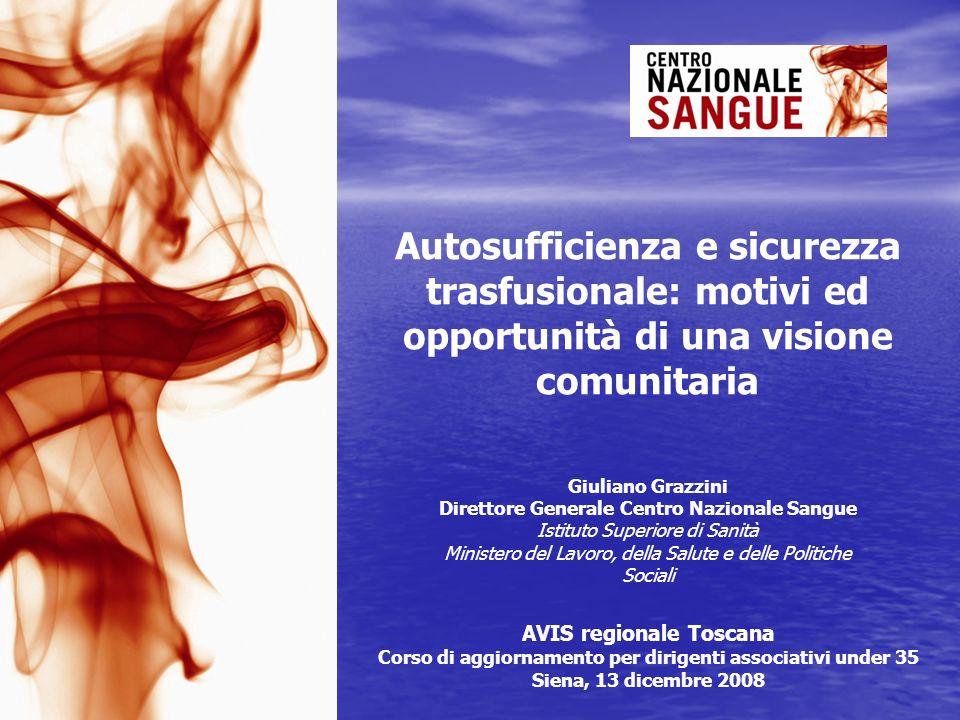 Autosufficienza e sicurezza trasfusionale: motivi ed opportunità di una visione comunitaria Giuliano Grazzini Direttore Generale Centro Nazionale Sang
