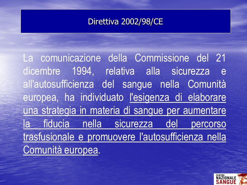 La comunicazione della Commissione del 21 dicembre 1994, relativa alla sicurezza e all'autosufficienza del sangue nella Comunità europea, ha individua