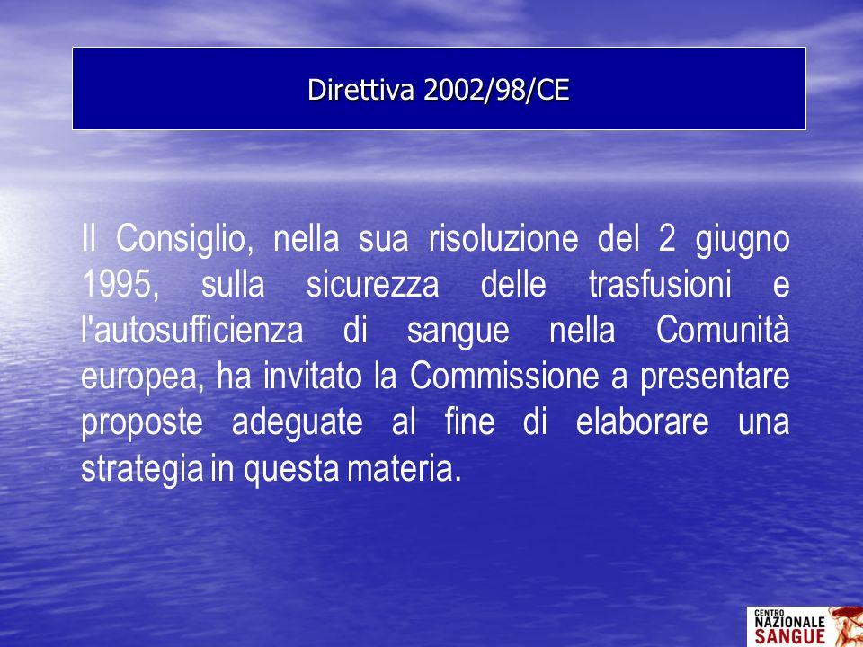Il Consiglio, nella sua risoluzione del 2 giugno 1995, sulla sicurezza delle trasfusioni e l'autosufficienza di sangue nella Comunità europea, ha invi