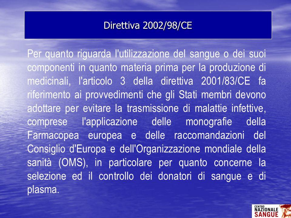 Per quanto riguarda l'utilizzazione del sangue o dei suoi componenti in quanto materia prima per la produzione di medicinali, l'articolo 3 della diret