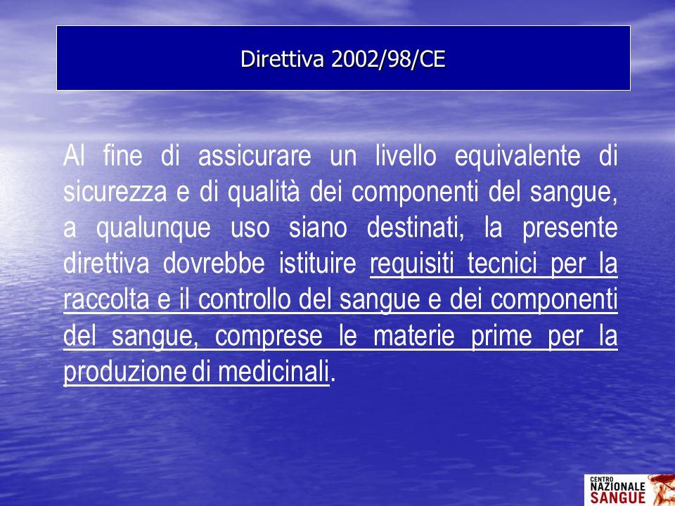 Al fine di assicurare un livello equivalente di sicurezza e di qualità dei componenti del sangue, a qualunque uso siano destinati, la presente diretti