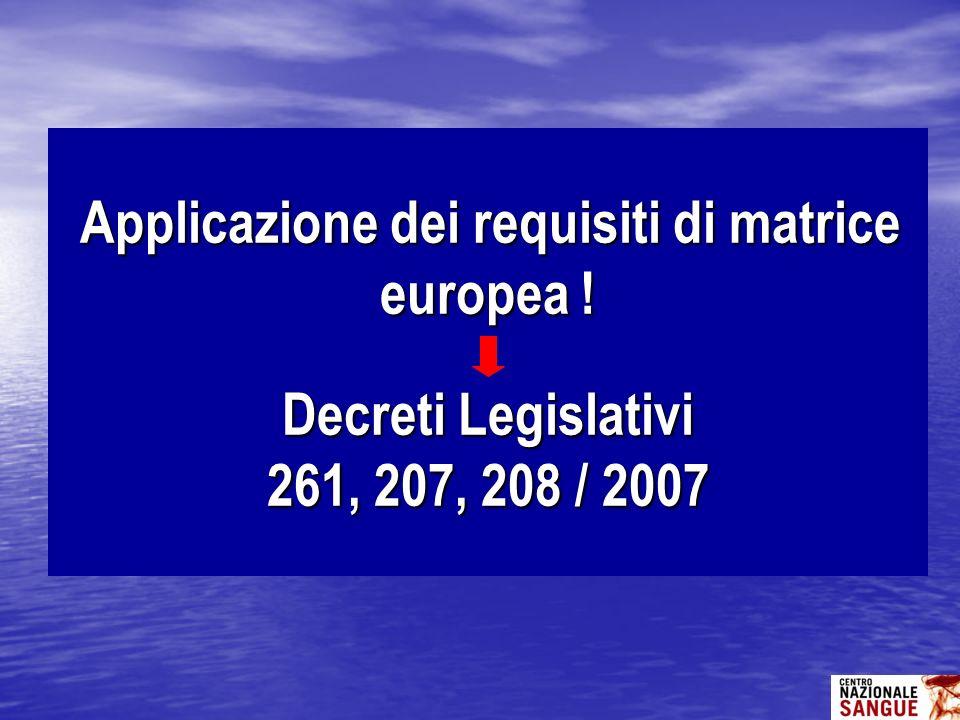 Applicazione dei requisiti di matrice europea ! Decreti Legislativi 261, 207, 208 / 2007 Applicazione dei requisiti di matrice europea ! Decreti Legis