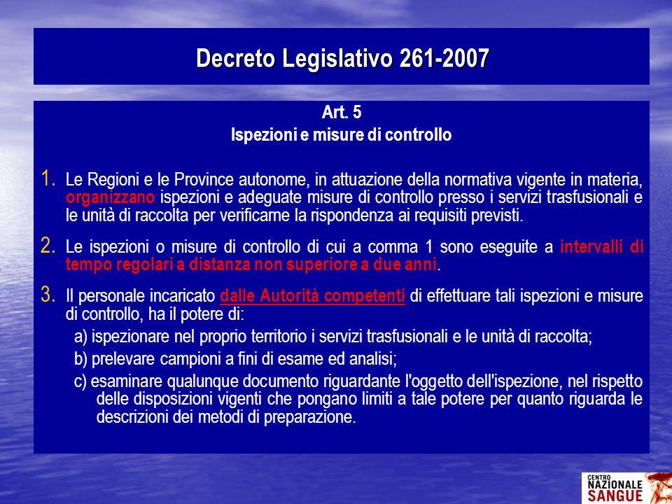 Art. 5 Ispezioni e misure di controllo 1. 1. Le Regioni e le Province autonome, in attuazione della normativa vigente in materia, organizzano ispezion