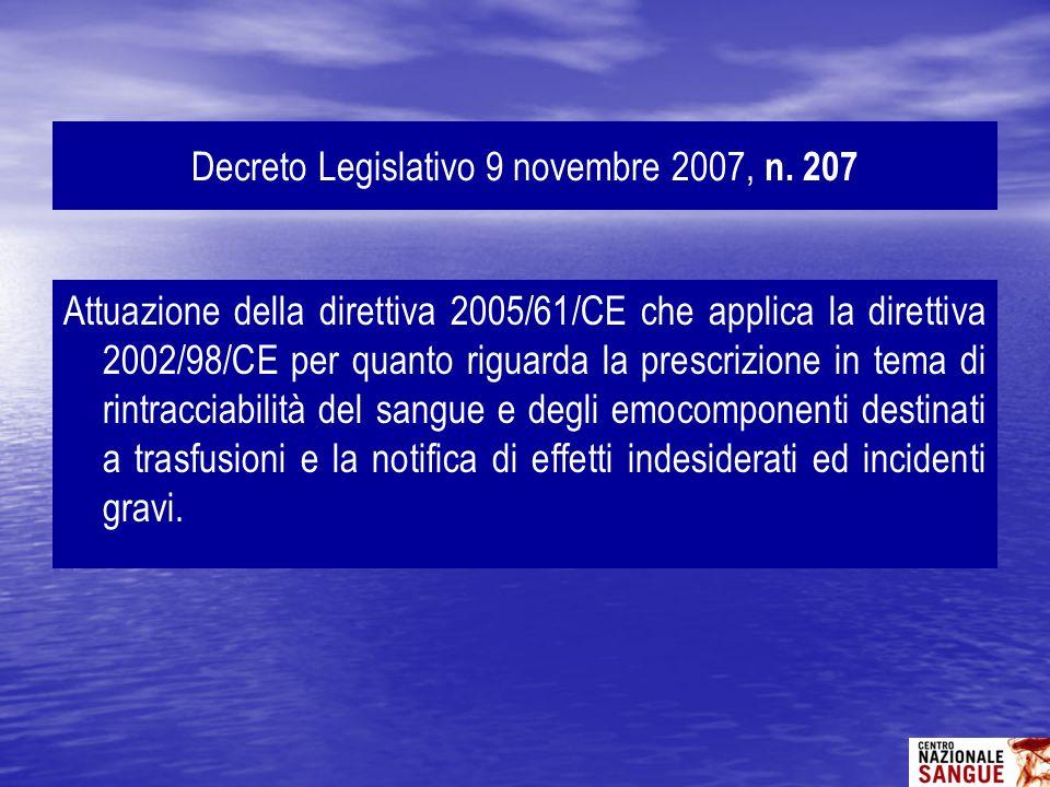 Attuazione della direttiva 2005/61/CE che applica la direttiva 2002/98/CE per quanto riguarda la prescrizione in tema di rintracciabilità del sangue e