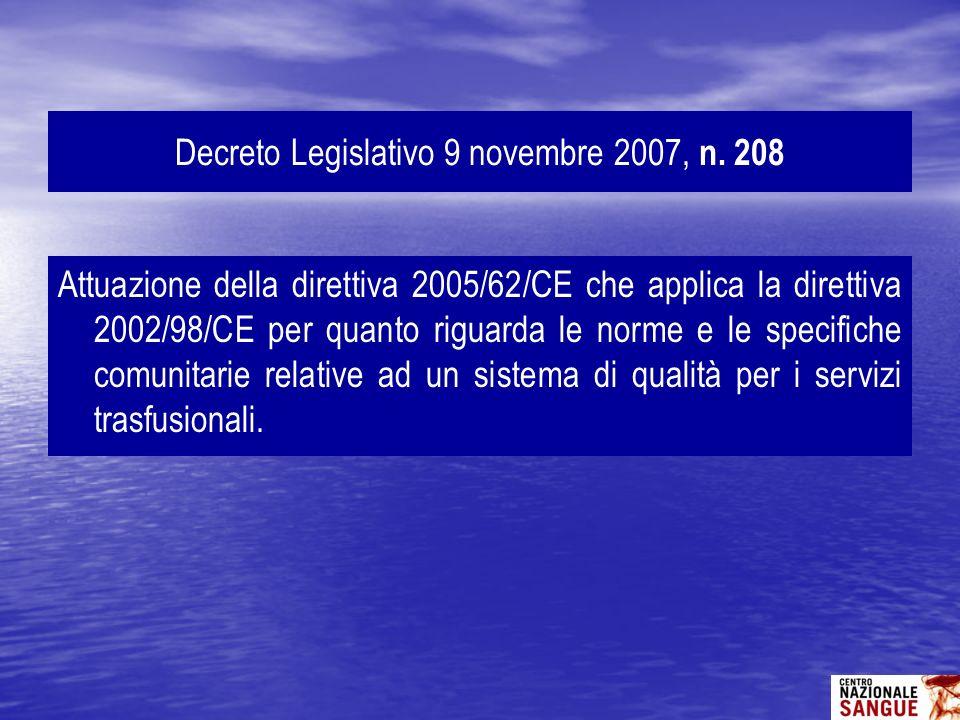 Attuazione della direttiva 2005/62/CE che applica la direttiva 2002/98/CE per quanto riguarda le norme e le specifiche comunitarie relative ad un sist