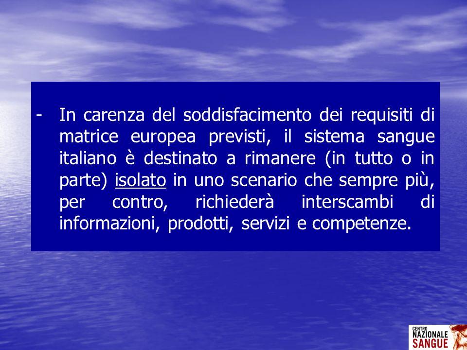-In carenza del soddisfacimento dei requisiti di matrice europea previsti, il sistema sangue italiano è destinato a rimanere (in tutto o in parte) iso