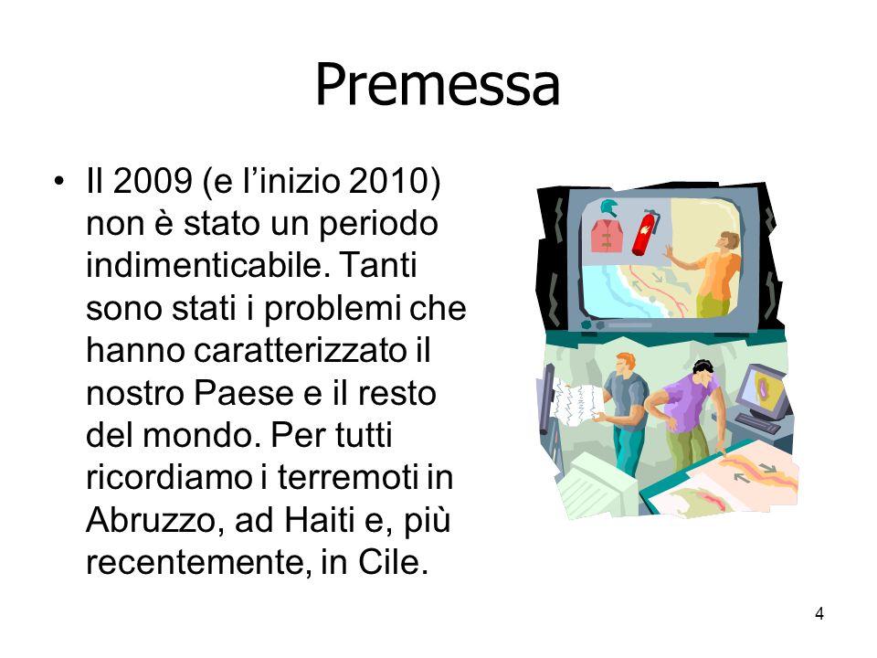 4 Premessa Il 2009 (e linizio 2010) non è stato un periodo indimenticabile.