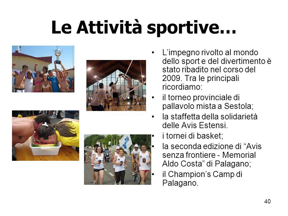 40 Le Attività sportive… Limpegno rivolto al mondo dello sport e del divertimento è stato ribadito nel corso del 2009.