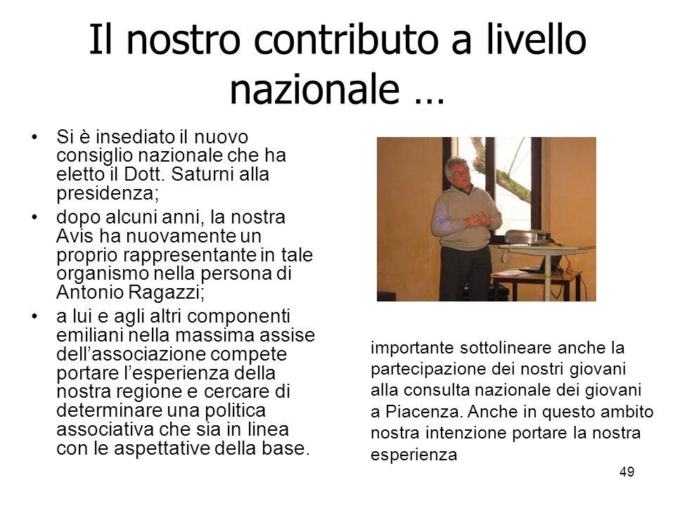 49 Il nostro contributo a livello nazionale … Si è insediato il nuovo consiglio nazionale che ha eletto il Dott.
