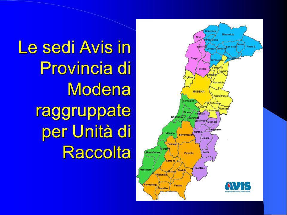 Le sedi Avis in Provincia di Modena raggruppate per Unità di Raccolta