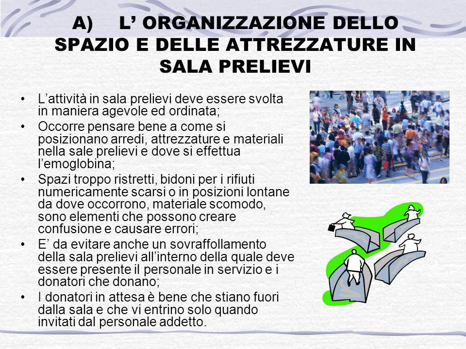 A)L ORGANIZZAZIONE DELLO SPAZIO E DELLE ATTREZZATURE IN SALA PRELIEVI Lattività in sala prelievi deve essere svolta in maniera agevole ed ordinata; Oc